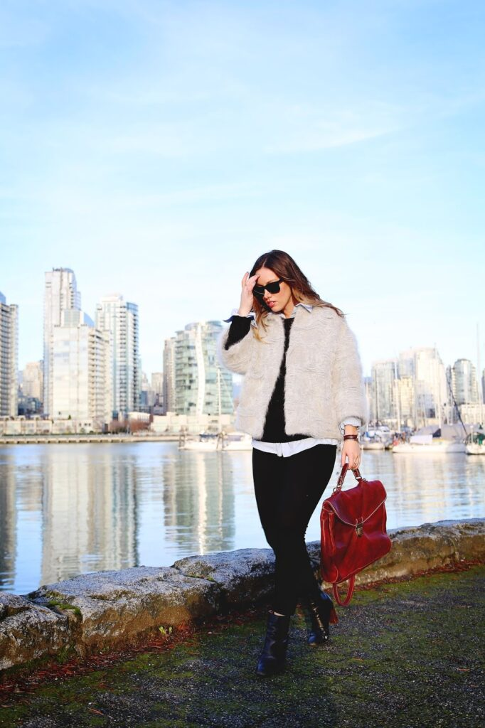 to vogue or bust, vancouver style blog, vancouver fashion blog, canadian style blog, canadian fashion blog, alexandra grant, hudson jeans skinny jeans, obakki jacket, joe fresh sweater, zara ankle boots, roots leather bag, daniel wellington watch, cute winter outfit ideas, winter outfit ideas, how to style a fuzzy jacket, fuzzy jacket styling, how to layer menswear pieces, how to pull off the menswear look, layering tips, best fashion blogs, best style blogs, top fashion blogs, top style blogs, vancouver sea wall