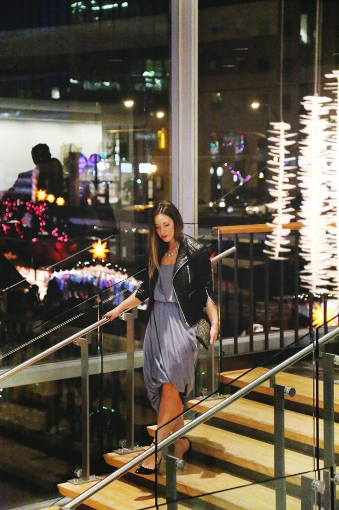 to vogue or bust, vancouver style blog, vancouver fashion blog, vancouver travel blog, canadian fashion blog, canadian style blog, canadian travel blog, what to do in vancouver, what to do in vancouver during the holidays, holidays in vancouver, bc ballet nutcracker, ballet bc nutcracker, royal winnipeg ballet's nutcracker, the nutcracker ballet, nutcracker ballet in vancouver, nicole bridger dress, nicole bridger vancouver, walter baker leather jacket, olive and piper necklace, how to style a draped dress, how to style a statement necklace, sole society heels, club monaco studded clutch, top fashion blogs, top style blogs, best fashion blogs, best style blogs