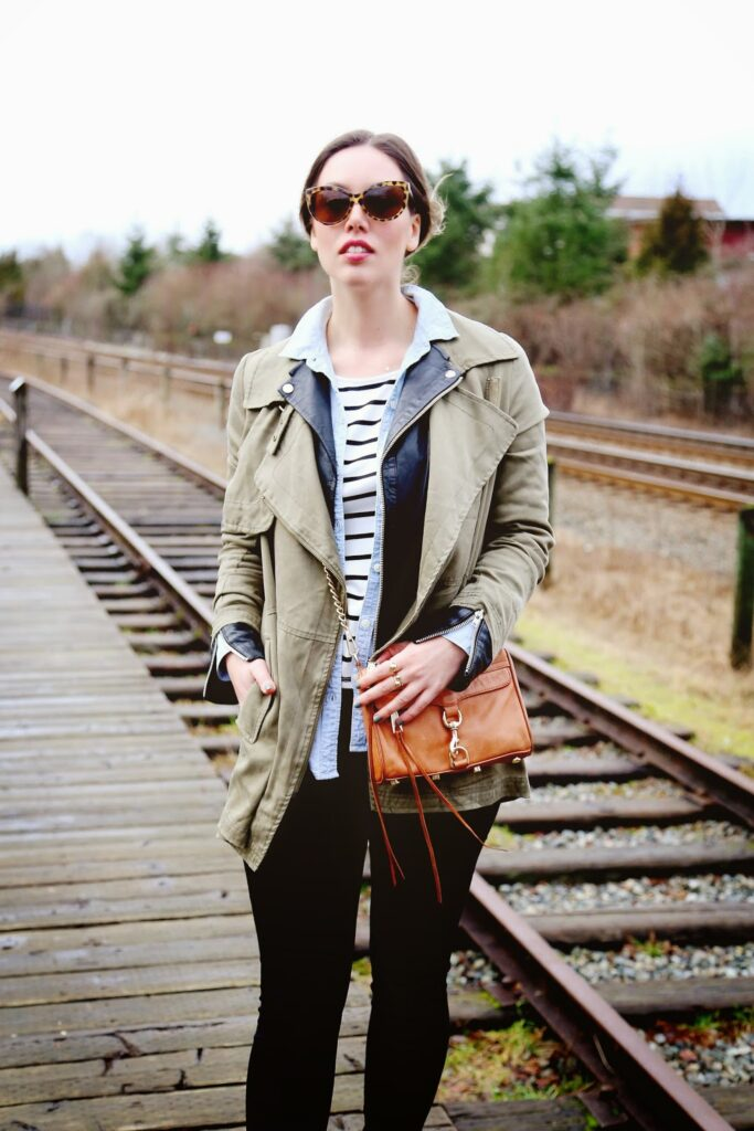 to vogue or bust, vancouver style blog, vancouver fashion blog, vancouver health blog, vancouver travel blog, canadian fashion blog, canadian style blog, canadian health blog, canadian travel blog, alexandra grant, gentle fawn utility coat, gentle fawn striped shirt, hudson jeans skinny jeans, old navy chambray top, old navy ankle boots, rebecca minkoff bag, sole society sunglasses, walter baker leather jacket, how to style a utility coat, how to layer jackets, how to wear a leather jacket under a coat, weekend style ideas, weekend outfit ideas, utility trend, best fashion blogs, best style blogs, best travel blogs, best health blogs, top travel blogs, top health blogs, top fashion blogs, top style blogs