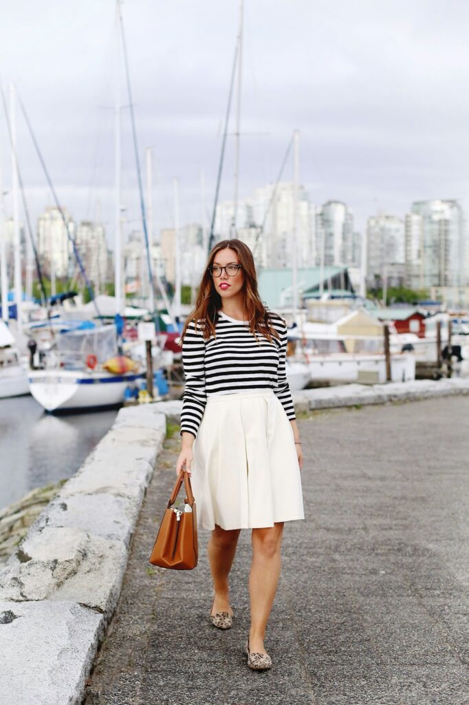 to vogue or bust, vancouver style blog, vancouver fashion blog, vancouver lifestyle blog, vancouver health blog, vancouver fitness blog, vancouver travel blog, canadian fashion blog, canadian style blog, canadian lifestyle blog, canadian health blog, canadian fitness blog, canadian travel blog, alexandra grant, obakki white skirt, joe fresh striped top, aritzia auxiliary bega bag, sole society leopard shoes, clearly contacts glasses, derek cardigan glasses, how to make glasses stylish, how to dress like a parisian, parisian style, parisian summer style, parisian style rules, how to mix prints, best fashion blogs, best lifestyle blogs, best style blogs, best health blogs, best travel blogs, best fitness blogs, top fashion blogs, top style blogs, top lifestyle blogs, top travel blogs, top health blogs, top fitness blogs