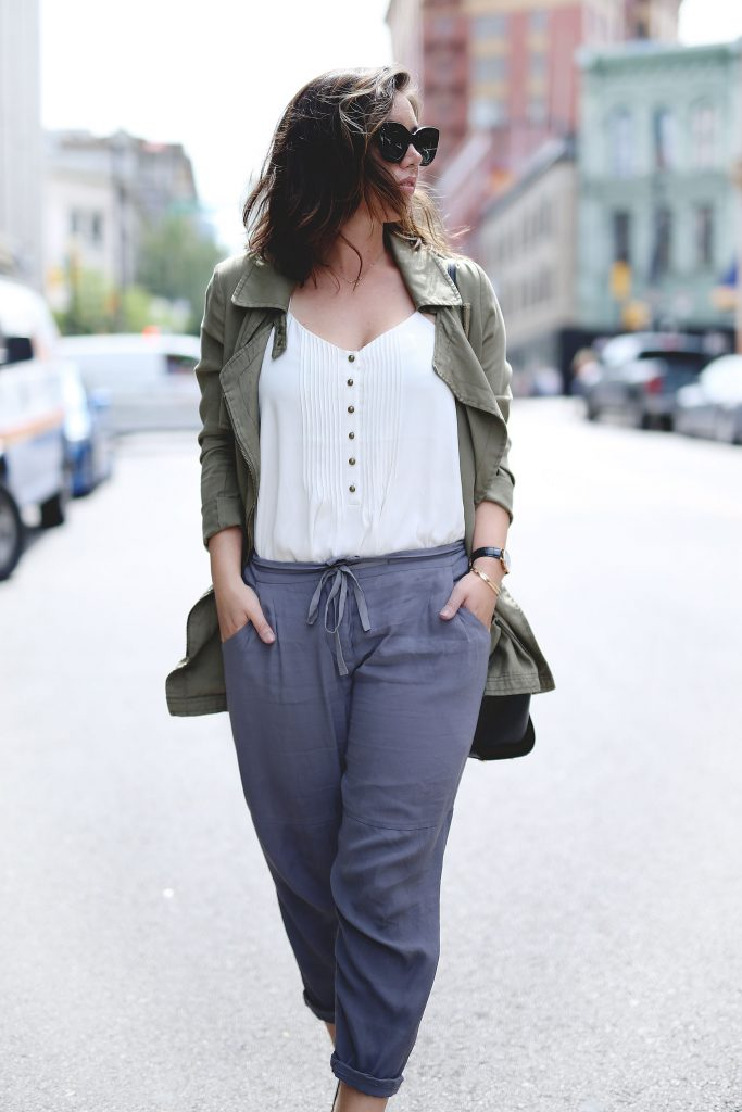 Aritzia silk pants, delicate camisole, utility jacket