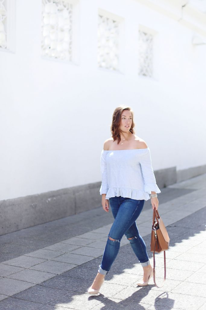 Skinny distressed jeans, off-the-shoulder top, Aritzia leather bag