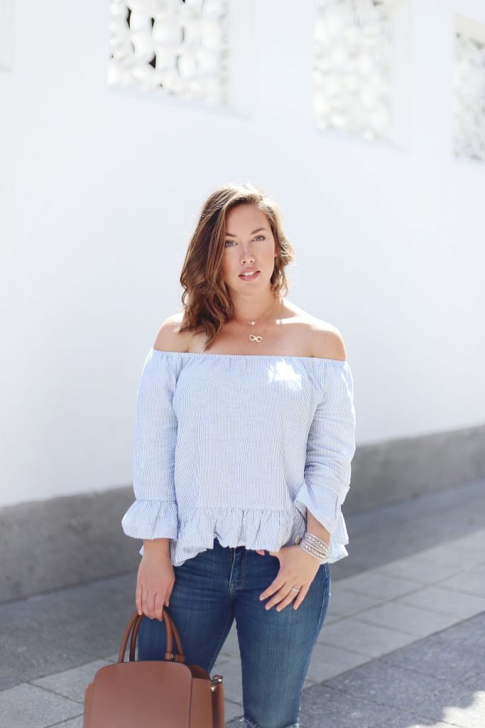 How to style an off-the-shoulder top