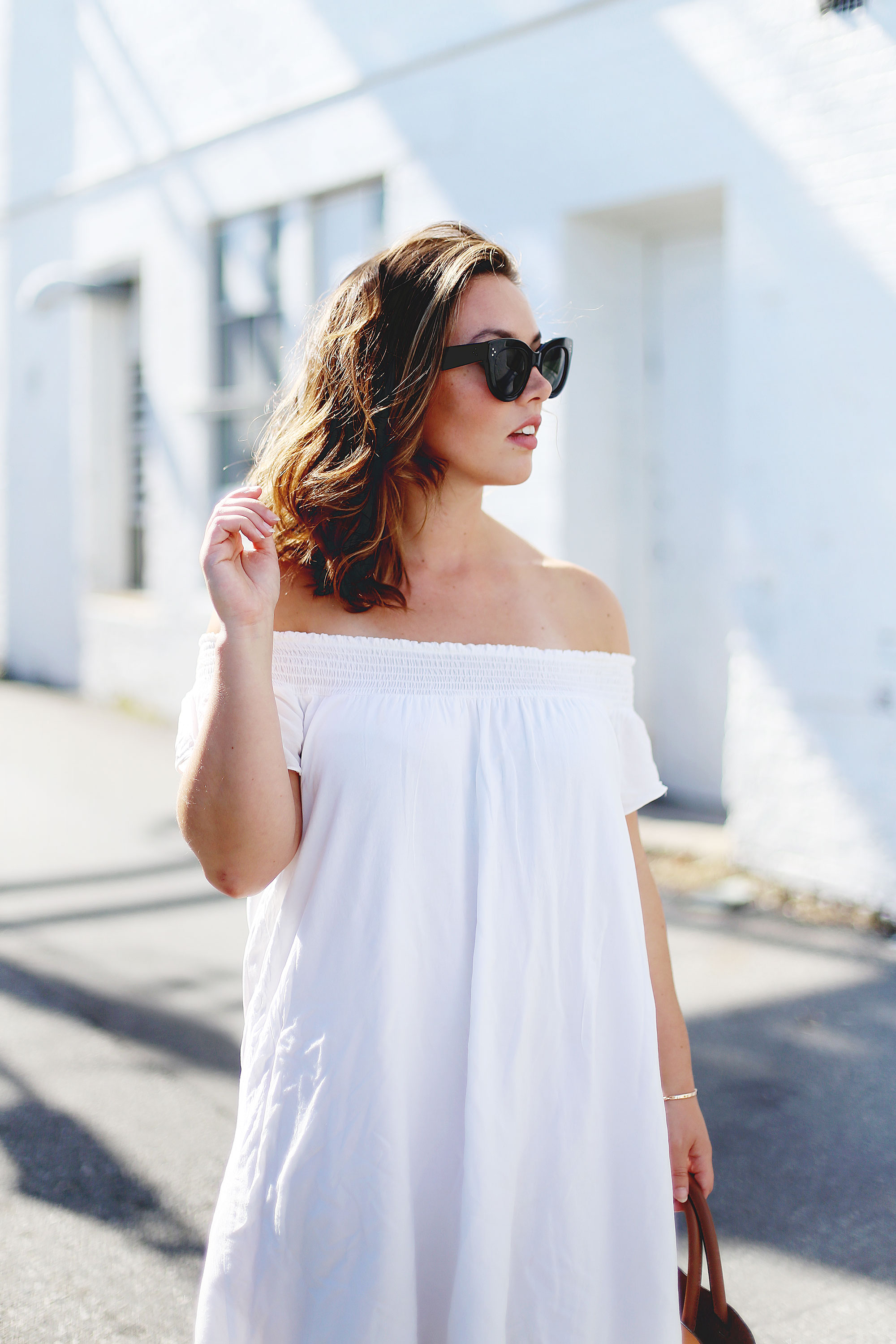 Off the shoulder dress styling