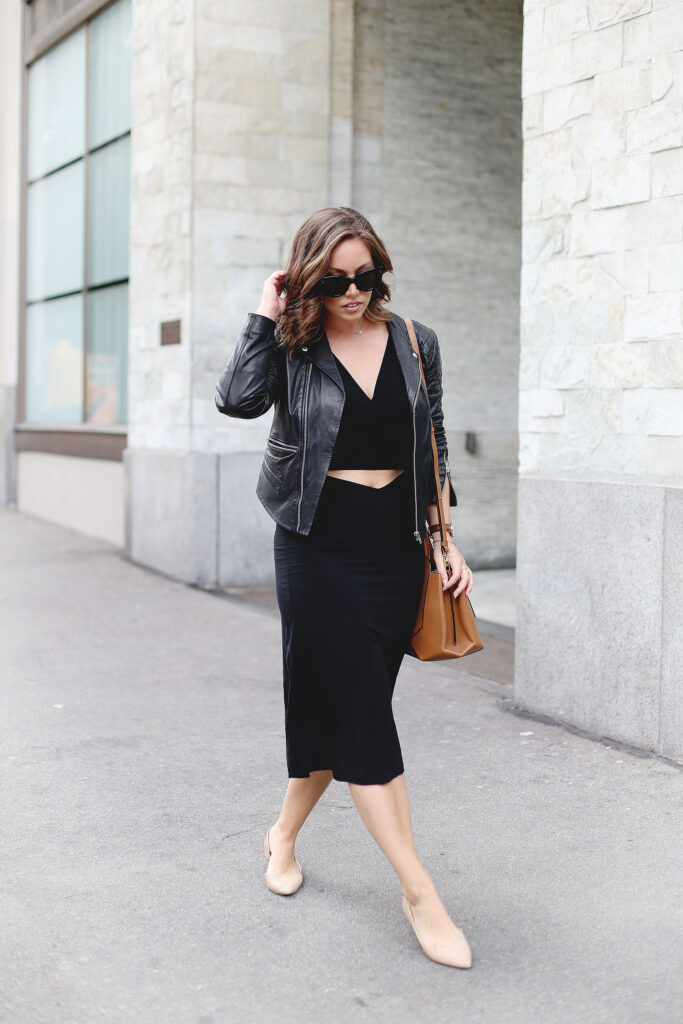 Crop top, midi skirt, leather jacket