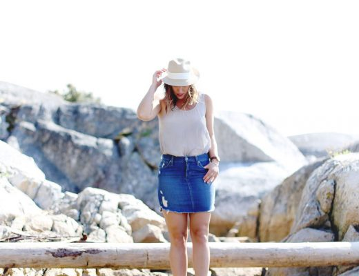 To Vogue or Bust breaks down how to wear a denim skirt in James Jeans denim skirt, Aritzia silk top, Aritzia straw hat and Grecian sandals