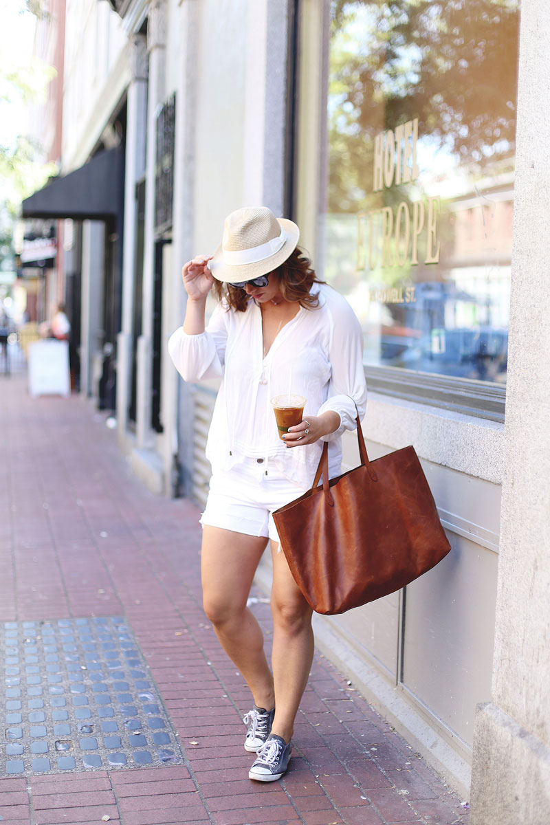 To Vogue or Bust in a Gentle Fawn sheer white blouse, Joe Fresh ripped denim shorts, Madewell leather tote, Swarovski jewelry and Aritzia straw hat