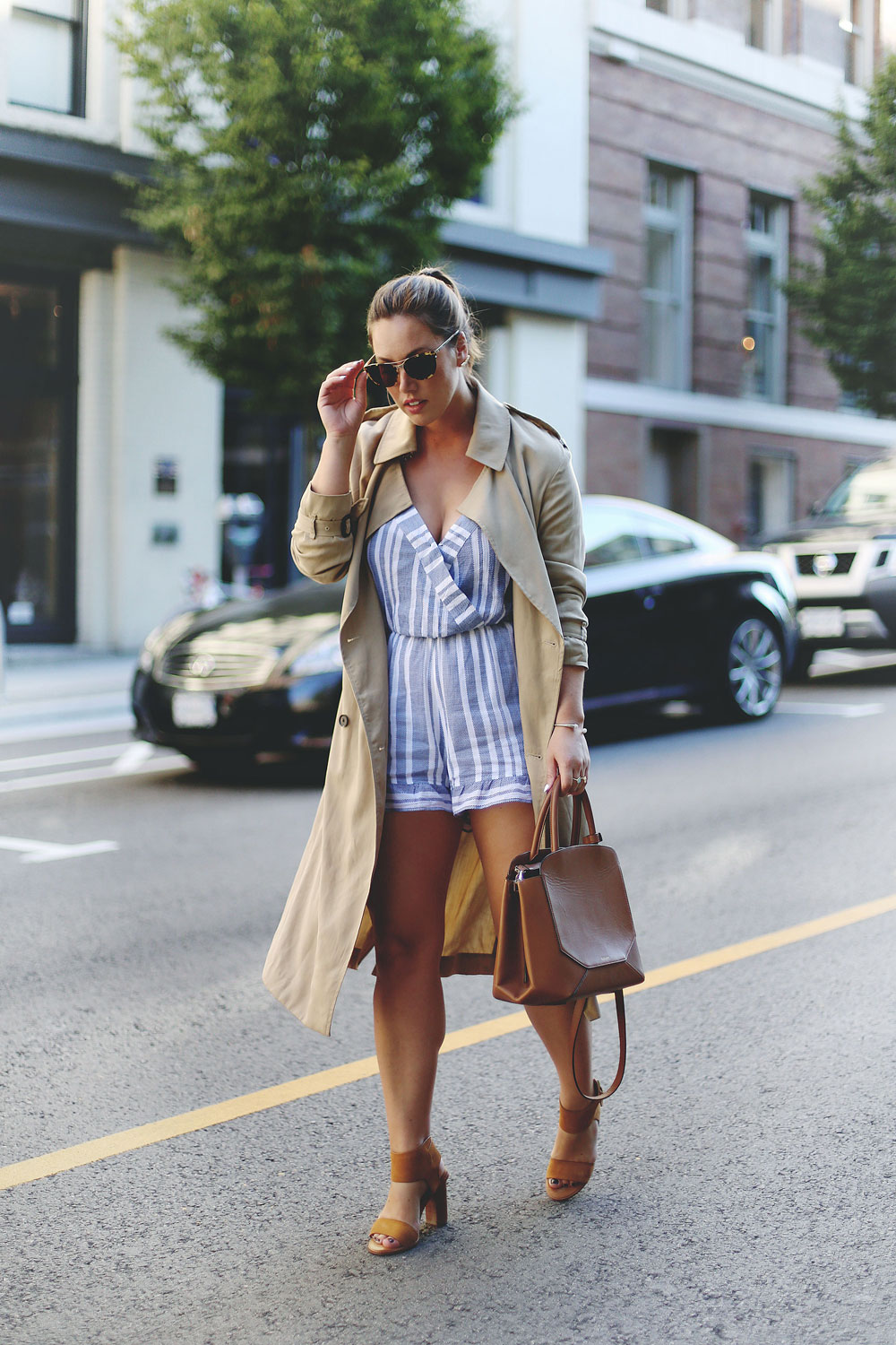 To Vogue or Bust shares fall transition style tips in a REVOLVE TULAROSA romper, Aritzia Wilfred trench coat, Aritzia Auxiliary Bega bag, Joie heels, Leah Alexandra jewelry and Ted Baker sunglasses