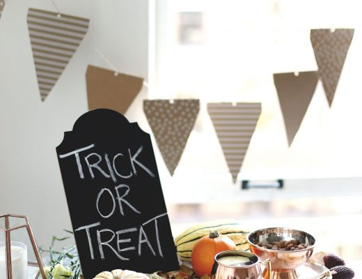 Halloween party hosting tips with Etsy products including copper cups, paper decorations and pumpkin styling