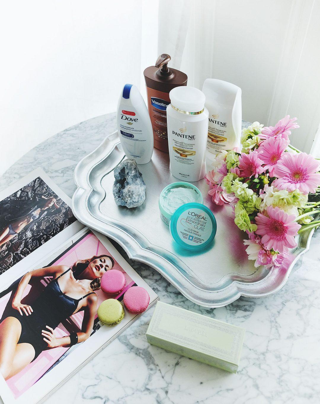 Best drugstore beauty picks, best drugstore shampoo, best drugstore conditioner, best drugstore face mask, best drugstore body lotion, best drugstore shower gel, shoppers drug mart