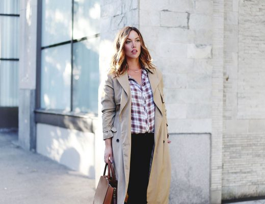 How to wear a plaid shirt in Gentle Fawn blouse, Hudson Jeans skinny jeans, Aritzia bega bag, Aritzia trench coat, Urban Outfitters ankle boots, Leah Alexandra jewelry, Daniel Wellington watch