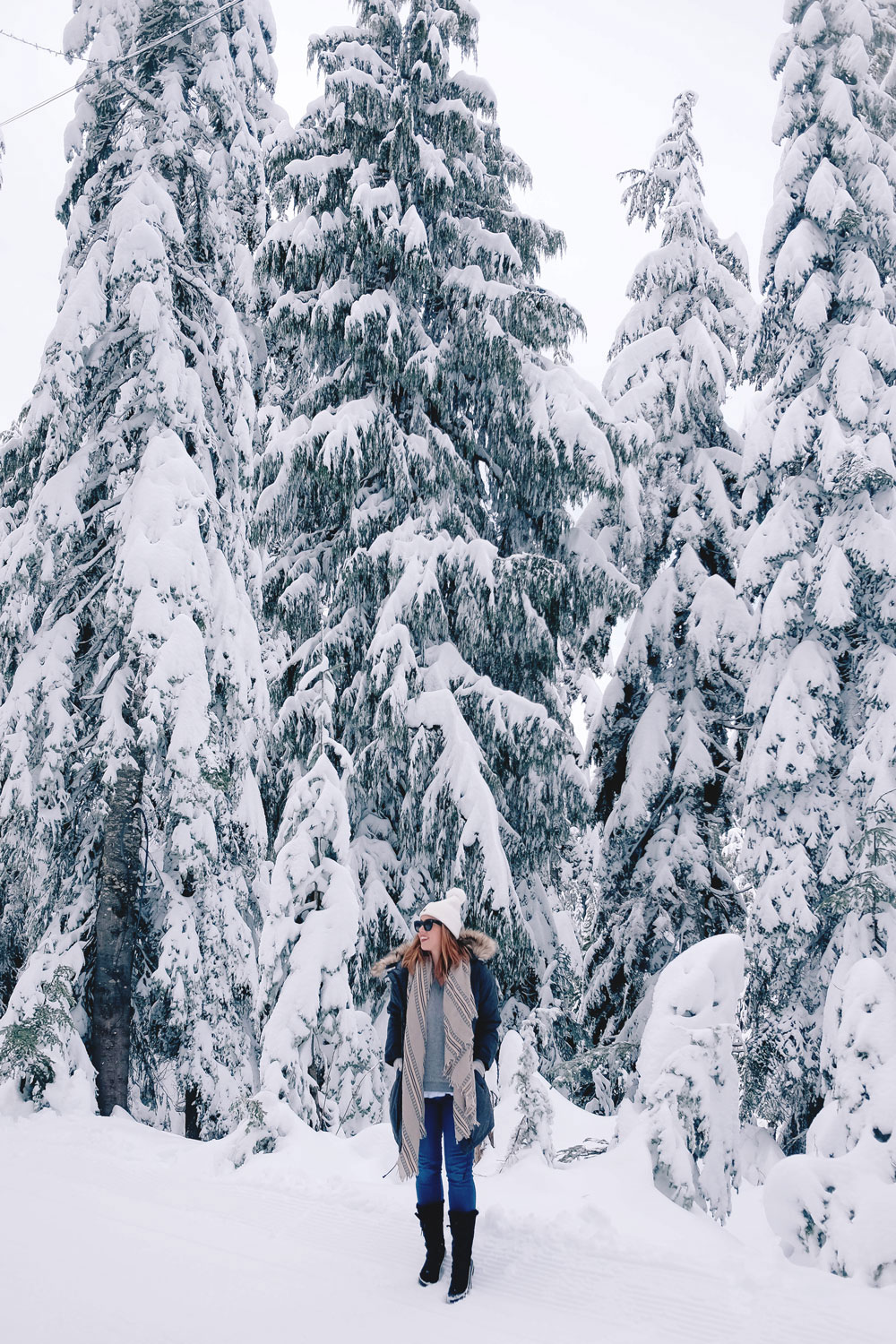 Best winter outfit ideas in the snow in Aritzia Community parka, James jeans skinny jeans, White and Warren cashmere sweater, Aritzia blanket scarf, Hershel beanie, Sorel snow boots styled by To Vogue or Bust at Grouse Mountain, Vancouver