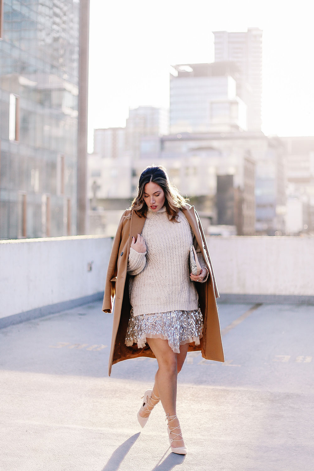 Holiday style tips in a Free People sequin dress, Sanctuary knit sweater, Raye lace up heels, Aritzia camel wool coat and Ted Baker blush clutch styled by To Vogue or Bust