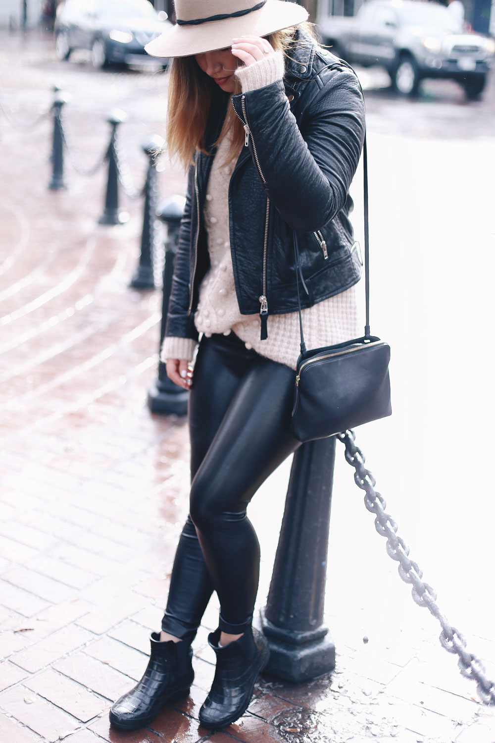 Rainy day outfits ideas in Roma boots, Mackage leather jacket, Express fedora, Aritzia sweater, Aritzia leather leggings styled by To Vogue or Bust