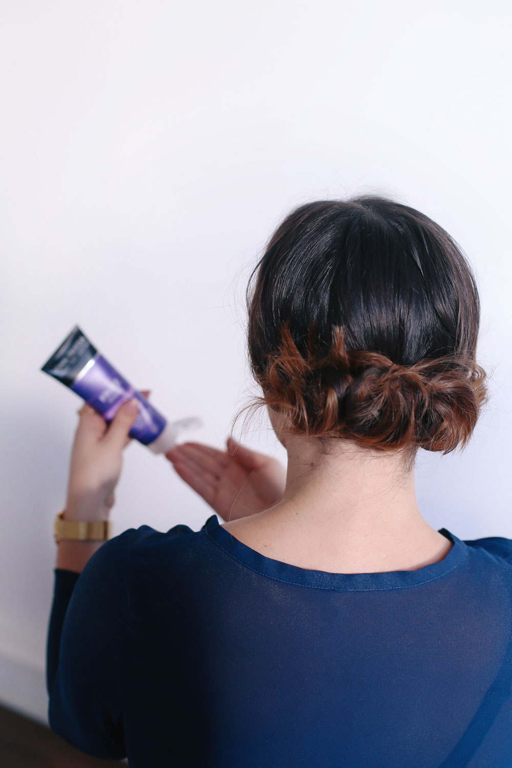Second day hair styles using John Frieda products, including Luxurious Volume line, Brilliant Brunette Visibly Deeper Collection, Colour Deepening Treatment styled by To Vogue or Bust