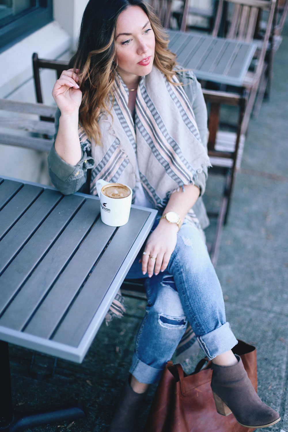 How to style a canvas jacket in Sanctuary canvas coat, Aritzia blanket scarf, Madewell tote, Silver jeans boyfriend jeans styled by To Vogue or Bust