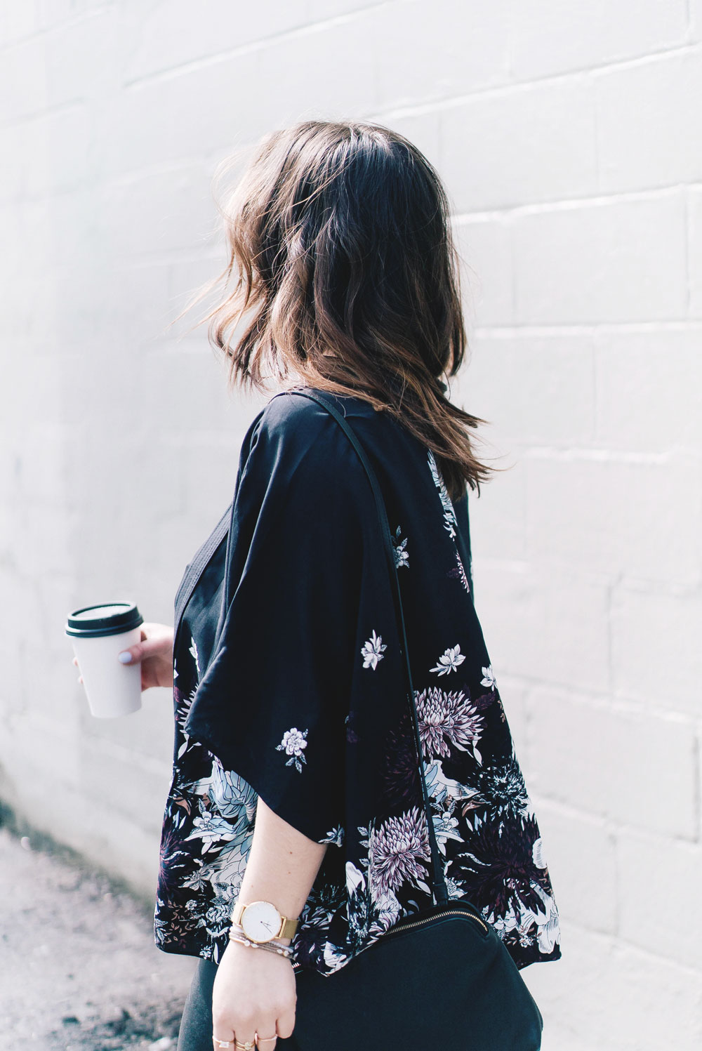 Spring floral trend styling tips in Aritzia Kimono, Celine Sunglasses, Aritzia Leather Leggings, how to wear spring florals, Aritzia spring tops, how to wear a kimono, Leah Alexandra jewelry by To Vogue or Bust