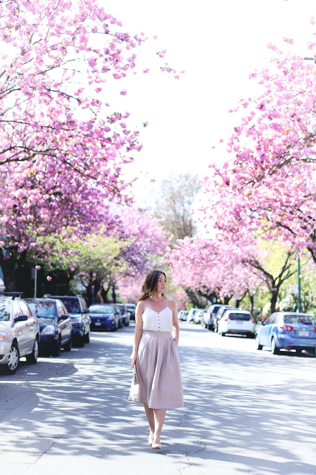 Where to see cherry blossoms in Vancouver at Fairview, Vanier Park, David Lam Park, Go Fish, Granville Island, cherry blossoms spots in Vancouver, best views of cherry blossoms in Vancouver by To Vogue or Bust