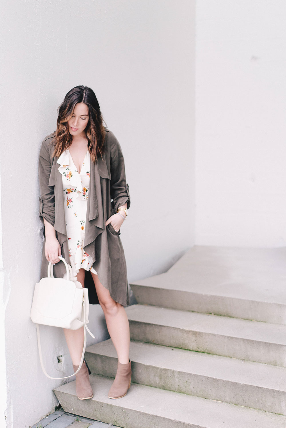 how to wear florals in revolve dress, lovers and friends dress, cluse watch, aritzia bega bag, how to style spring trench coat, how to stack jewelry, floral dress ideas by To Vogue or Bust