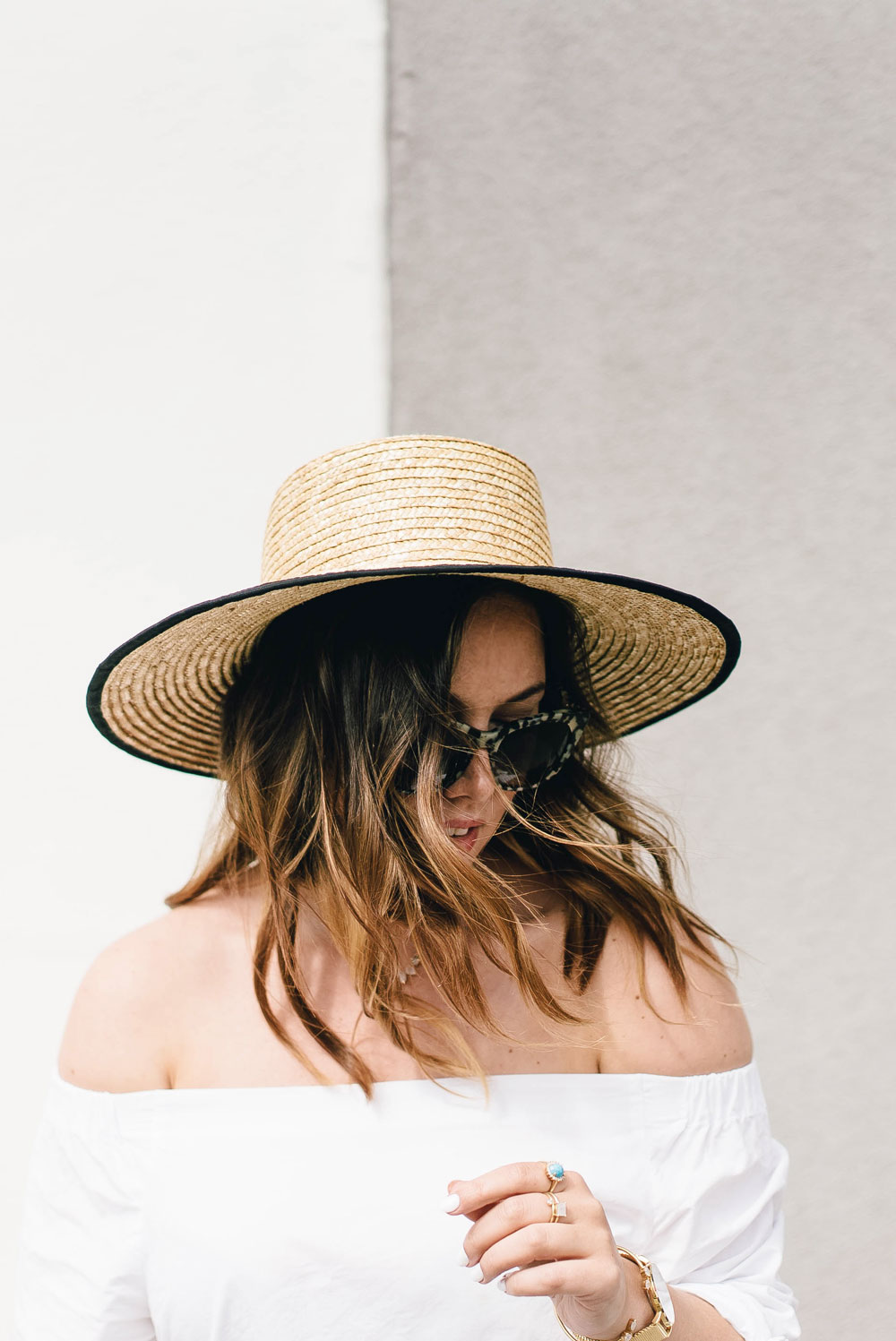 How to style converse sneakers, how to wear converse, how to wear sneakers, how to wear a boat hat, summer transition outfit ideas in bailey nelson sunglasses, bailey nelson tortoise sunglasses, aritzia off the shoulder top by To Vogue or Bust
