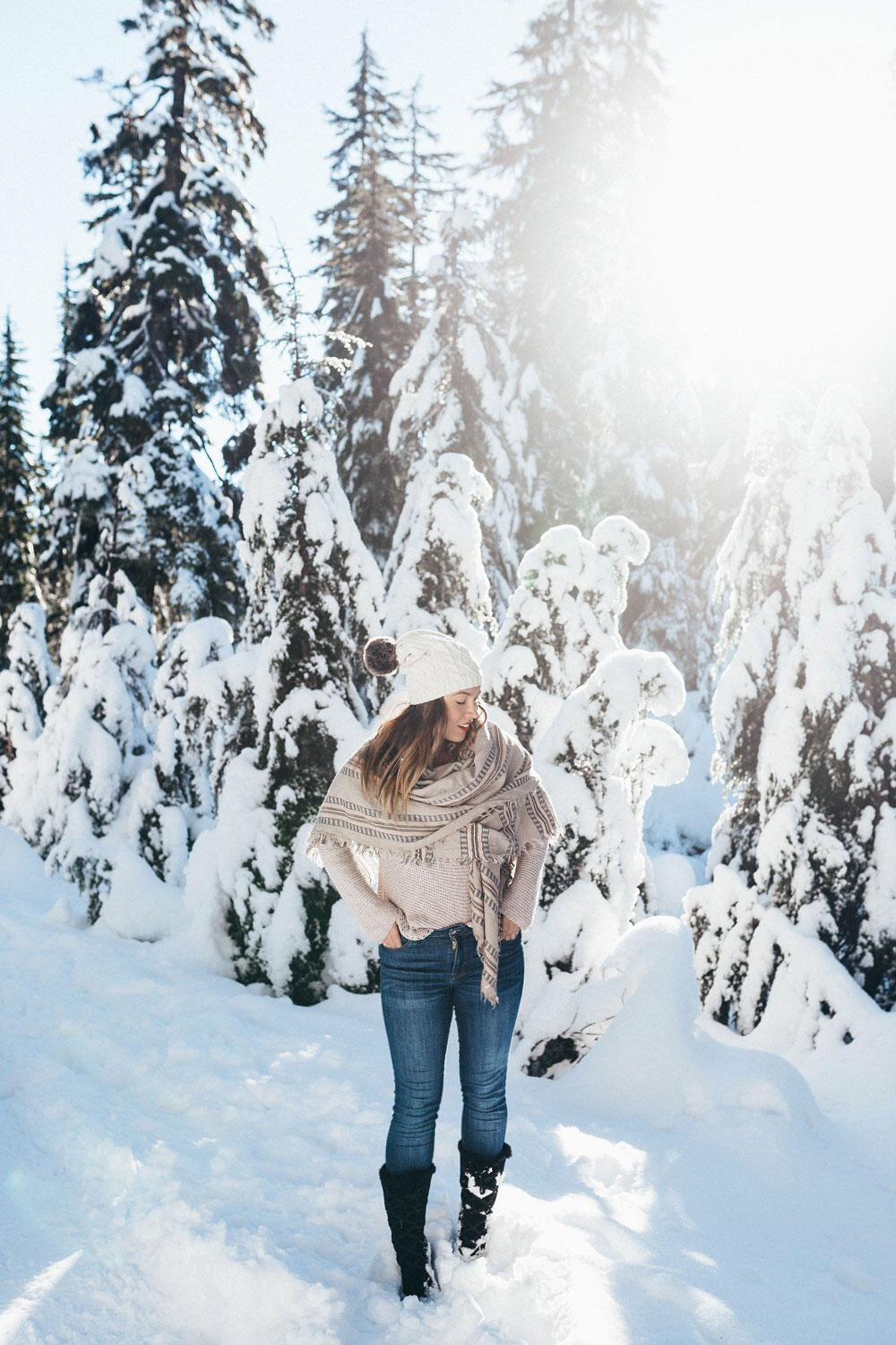 How to style aritzia blanket scarf with gentle fawn sweater by To Vogue or Bust