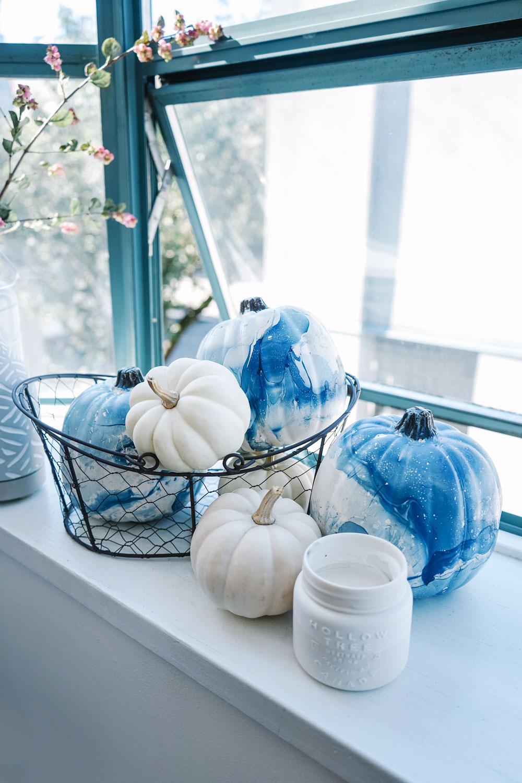 Marbled indigo pumpkins